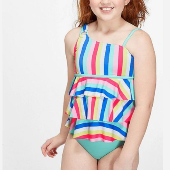 *NWT* JUSTICE GIRLS 10 12 RAINBOW SPLATTER REVERSIBLE BIKINI SWIM SET SWIMWEAR